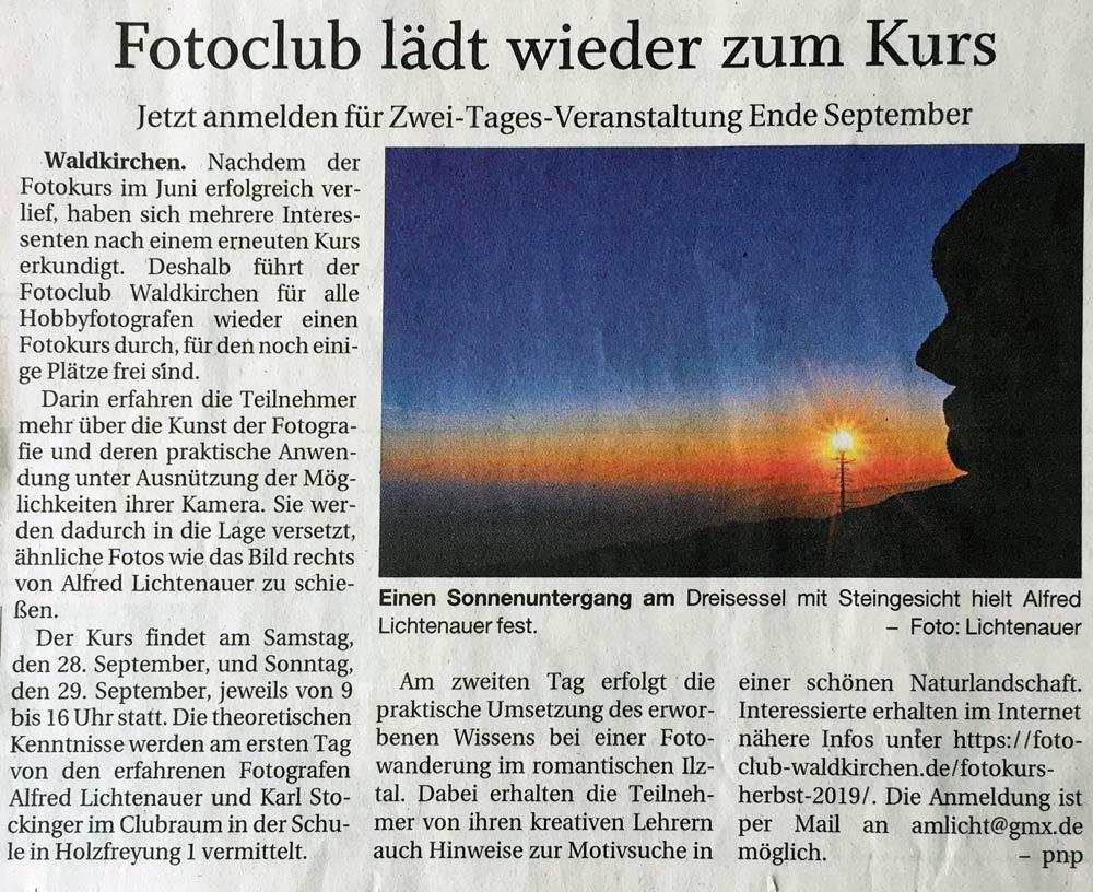 Einladung zum Fotokurs beim Fotoclub Waldkirchen