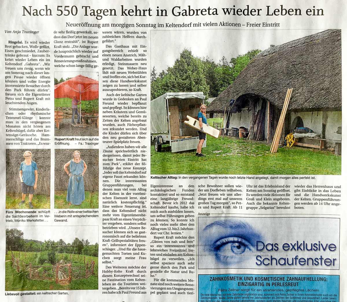 Pressebericht der PNP - Ankündigung der Neueröffnung Gabreta 2021