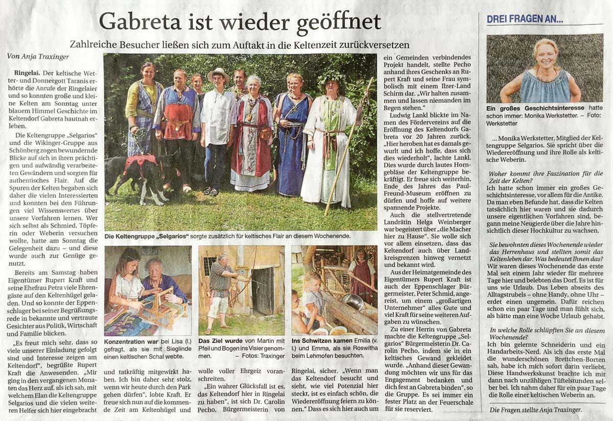 Pressebericht zur Neueröffnung des Keltendorfes Gabreta